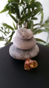 rock stack with crystal